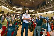 Nederland, Nijmegen, 13-1-2017Jesse Klaver, lijsttrekker van Groen Links,spreekt voor een volle Vereeniging. Foto: Flip Franssen