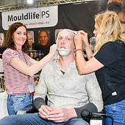 Oscar-winning make-up artist Lucy Sibbick demo at Mouldlife stand at IMATS London on 18 May 2019,  London, UK.