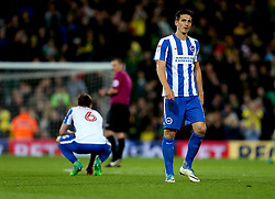 Lewis Dunk of Brighton & Hove Albion and Dale Stephens of Brighton & Hove Albion look dejected after the defeat to Norwich City - Mandatory by-line: Robbie Stephenson/JMP - 21/04/2017 - FOOTBALL - Carrow Road - Norwich, England - Norwich City v Brighton and Hove Albion - Sky Bet Championship