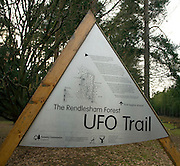UFO trail sign at Rendlesham Forest, Suffolk explores the famous reported UFO sighting in 1980, Suffolk, England