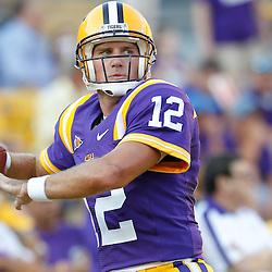 September 10, 2011; Baton Rouge, LA, USA;  LSU Tigers quarterback Jarrett Lee (12) prior to kickoff of a game against the Northwestern State Demons at Tiger Stadium.  Mandatory Credit: Derick E. Hingle