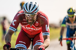 Rider of Team Katusha - Alpecin during the 115th Paris-Roubaix (1.UWT) from Compiègne to Roubaix (257 km) at cobblestones sector 17 from Hornaing to Wandignies, France, 9 April 2017. Photo by Pim Nijland / PelotonPhotos.com | All photos usage must carry mandatory copyright credit (Peloton Photos | Pim Nijland)