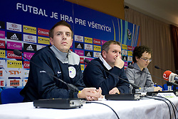 Matjaz Krajnik of NZS and Head coach  of Slovenian National football team Matjaz Kek at the press conference a day before FIFA World Cup Qualifications match between Slovakia and Slovenia, on October 09, 2009, in Tehelne Pole Stadium, Bratislava, Slovakia.  (Photo by Vid Ponikvar / Sportida)