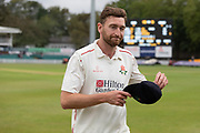 Richard Gleeson leaves the field having taken 6-43 during the Specsavers County Champ Div 2 match between Leicestershire County Cricket Club and Lancashire County Cricket Club at the Fischer County Ground, Grace Road, Leicester, United Kingdom on 23 September 2019.