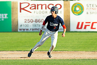 KELOWNA, BC - JULY 24: Matt Voelzke #5 of the Kelowna Falcons leads off second base against the Yakima Valley Pippins at Elks Stadium on July 24, 2019 in Kelowna, Canada. (Photo by Marissa Baecker/Shoot the Breeze)