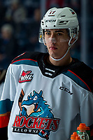 KELOWNA, BC - FEBRUARY 15: Alex Swetlikoff #17 of the Kelowna Rockets stands at the bench during warm up against the Red Deer Rebels at Prospera Place on February 15, 2020 in Kelowna, Canada. (Photo by Marissa Baecker/Shoot the Breeze)