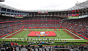 General overall view of Tampa Bay Buccaneers flag on thee field during  an NFL International Series game against the Carolina Panthers at Tottenham Hotspur Stadium, Sunday, Oct. 13, 2019, in London.  The Panthers defeated the Buccaneers 37-26. (Gareth Williams/Image of Sport)