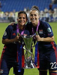 (L-R) Shanice van de Sanden of Olympique Lyonnais, Lucy Bronze of Olympique Lyonnais with UEFA Womens Champions League trophy during the UEFA Women's Champions League final match between VfL Wolfsburg women and Olympique Lyonnais women on May 24, 2018 at  Valeriy Lobanovskiy Dynamo Stadium in Kyiv, Ukraine