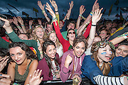 Fans of Mumford and sons go wild as they come on stage. The 2013 Glastonbury Festival, Worthy Farm, Glastonbury. 30 June 2013. © Guy Bell, guy@gbphotos.com, all rights reserved