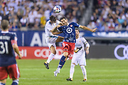 CHICAGO, IL - AUGUST 02: Real Madrid midfielder Marcos Llorente (18) and MLS All-Star and Montreal Impact Midfielder Ignacio Piatti (28) battle for a header in the first half during a soccer match between the MLS All-Stars and Real Madrid on August 02, 2017, at Soldier Field in Chicago, IL. (Photo By Daniel Bartel/Icon Sportswire)