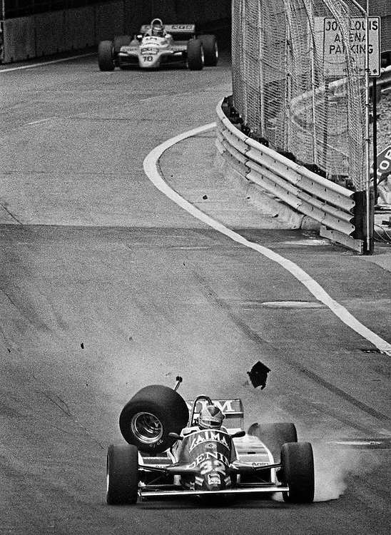 Rookie Riccardo Paletti in trouble when his Osella&rsquo;s right drive shaft broke over a bump during the 1982 Detroit Grand Prix. The car was destroyed, but he would walk away unscathed. <br />
