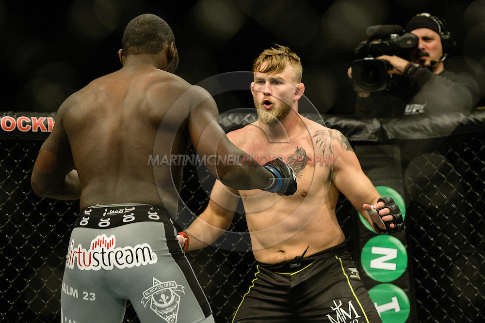 "STOCKHOLM, SWEDEN, JANUARY 24, 2015: Anthony Johnson and Alexander Gustafsson during ""UFC on Fox 14: Gustafsson vs. Johnson"" inside Tele2 Arena in Stockholm, Sweden"