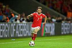 LILLE, FRANCE - Friday, July 1, 2016: Wales' Joe Allen in action against Belgium during the UEFA Euro 2016 Championship Quarter-Final match at the Stade Pierre Mauroy. (Pic by David Rawcliffe/Propaganda)