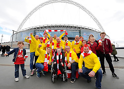 Oskar Pycroft with a group of fans who walked from Ashton gate in Bristol to Wembley to raise money for Oskar's charity - Photo mandatory by-line: Joe Meredith/JMP - Mobile: 07966 386802 - 22/03/2015 - SPORT - Football - London - Wembley Stadium - Bristol City v Walsall - Johnstone Paint Trophy Final