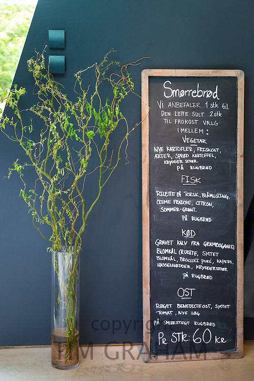 Cafe blackboard lunch and snacks menu prices in Kroner for Smorrebrod - smorgasbord - at Ordrupgaard Art Design Museum, Denmark