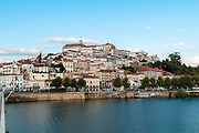 University hill as seen from the Santa Clara Bridge over the Mondego River, Coimbra, Portugal