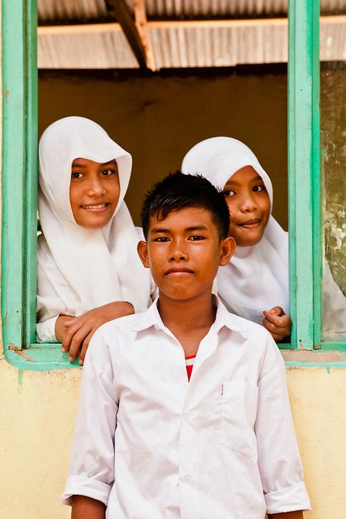 School children at fishing village located on Komodo Island.