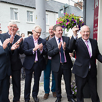 Emelyn Heaps, PJ Keogh, Paul Walsh, Cllr Paul Murphy, Joe Carey, TD, and Micheal Ring, TD, Junior, Minister for Sport cutting the ribbon at the Official opening of 'The Castle', Antique, Arts & Craft Centre in Clarecastle