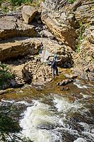 Adventure trail rope bridge, Ausable Chasm, New York.