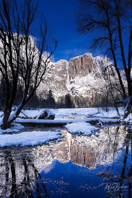 Yosemite Falls reflection in winter, Yosemite National Park, California USA