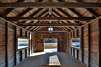 Inside the boathouse along the North River in the Norris Reservation in Norwell, Massachusetts.