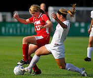 29 MAY 2010 -- FENTON, Mo. -- Cor Jesu Acadmey soccer player Julia Merlo (8) battles Incarnate Word Academy's Katie Skrivan (17) for control of the ball in the first half during the MSHSAA Class 3 girls' soccer quarterfinal at the A-B Center in Fenton, Mo. Saturday, May 29, 2010. CJA won, 1-0, in overtime. Photo © copyright 2010 by Sid Hastings.