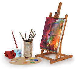 painting on canvas, art palette, brushes and easel isolated on white background.