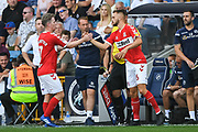 Middlesbrough Midfielder Grant Leadbitter (7) is replaced by Middlesbrough Midfielder Lewis Wing (26) as a substitute during the EFL Sky Bet Championship match between Millwall and Middlesbrough at The Den, London, England on 4 August 2018. Picture by Stephen Wright.