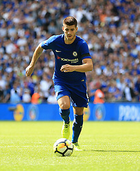 "Chelsea's Alvaro Morata during the Community Shield at Wembley, London. PRESS ASSOCIATION Photo. Picture date: Sunday August 6, 2017. See PA story SOCCER Community Shield. Photo credit should read: Nigel French/PA Wire. RESTRICTIONS: EDITORIAL USE ONLY No use with unauthorised audio, video, data, fixture lists, club/league logos or ""live"" services. Online in-match use limited to 75 images, no video emulation. No use in betting, games or single club/league/player publications."