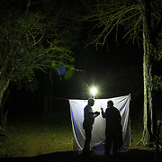 Two researchers collects insects using a black light in the Dominican Republic.
