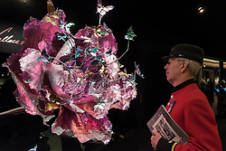 "© Licensed to London News Pictures. 29/06/2016. London, UK.  Chelsea Pensioner, David Jordan, looks at ""Rise of Heart"", a titanium gemstone sculpture, by Wallace Chan, at the preview, in Chelsea, of Masterpiece London, the leading international fair for art and design from antiquity to the present day with works from 154 world-renowned exhibitors on sale.  The fair is open until 6 July.Photo credit : Stephen Chung/LNP"