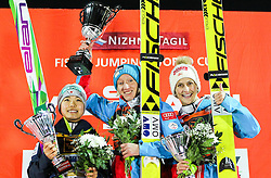 12.12.2015, Nordic Center, Nizhny Tagil, RUS, FIS Weltcup Ski Sprung, Nizhny Tagil, Damen, im Bild v.l.: Sara Takanashi (JPN, 2. Platz), Daniela Iraschko-Stolz (AUT, 1. Platz), Eva Pinkelnig (AUT, 3. Platz) // f.l.: 2nd placed Sara Takanashi of Japan Winner Daniela Iraschko-Stolz of Austria 3rd placed Eva Pinkelnig of Austria during Ladies Skijumping Competition of FIS Skijumping World Cup at the Nordic Center in Nizhny Tagil, Russia on 2015/12/12. EXPA Pictures © 2015, PhotoCredit: EXPA