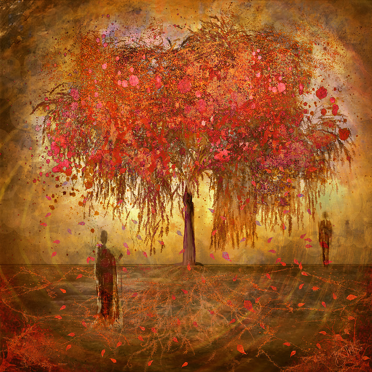 Abstract red tree with separating human figures and concentric circles