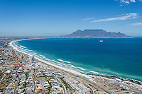 Table Mountain lies in the distance of the highly developed suburb of Blouberg Strand, Cape Town, Western Province, South Africa