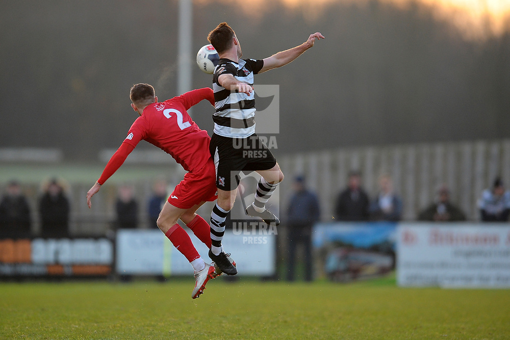 TELFORD COPYRIGHT MIKE SHERIDAN Arlen Birch battles for a header during the Vanarama Conference North fixture between Darlington and AFC Telford United at Blackwell Meadows on Saturday, November 30, 2019.<br /> <br /> Picture credit: Mike Sheridan/Ultrapress<br /> <br /> MS201920-032