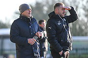 Forest Green Rovers manager, Mark Cooper and Forest Green Rovers assistant manager, Scott Lindsey during the EFL Sky Bet League 2 match between Forest Green Rovers and Crawley Town at the New Lawn, Forest Green, United Kingdom on 24 February 2018. Picture by Shane Healey.