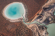 Aerial flight above Shark Bay World Heritage Area from above. Big Lagoon, West Australia.