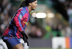 Ronaldinho shows off his cycling shorts. Celtic v Barcelona, Uefa Champions League, Knockout phase, Celtic Park, Glasgow, Scotland. 20th February 2008.