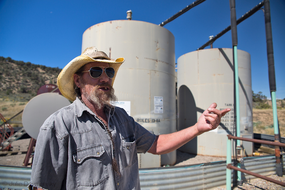 Rick Roles, on his land in Garfield County Colorado near a fracking industry site. Roles family leased the land to the fracking industry.