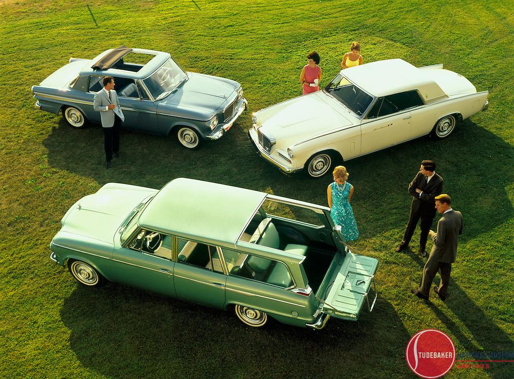 Studebaker's 1963 model lineup showing the Wagonaire, Lark, and Gran Turimso Hawk.