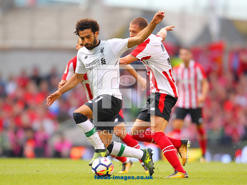 Mohamed Salah of Liverpool and Enric Saborit of Athletic Bilbao during the Pre-season Friendly match at the Aviva Stadium, Dublin<br /> Picture by Yannis Halas/Focus Images Ltd +353 8725 82019<br /> 05/08/2017