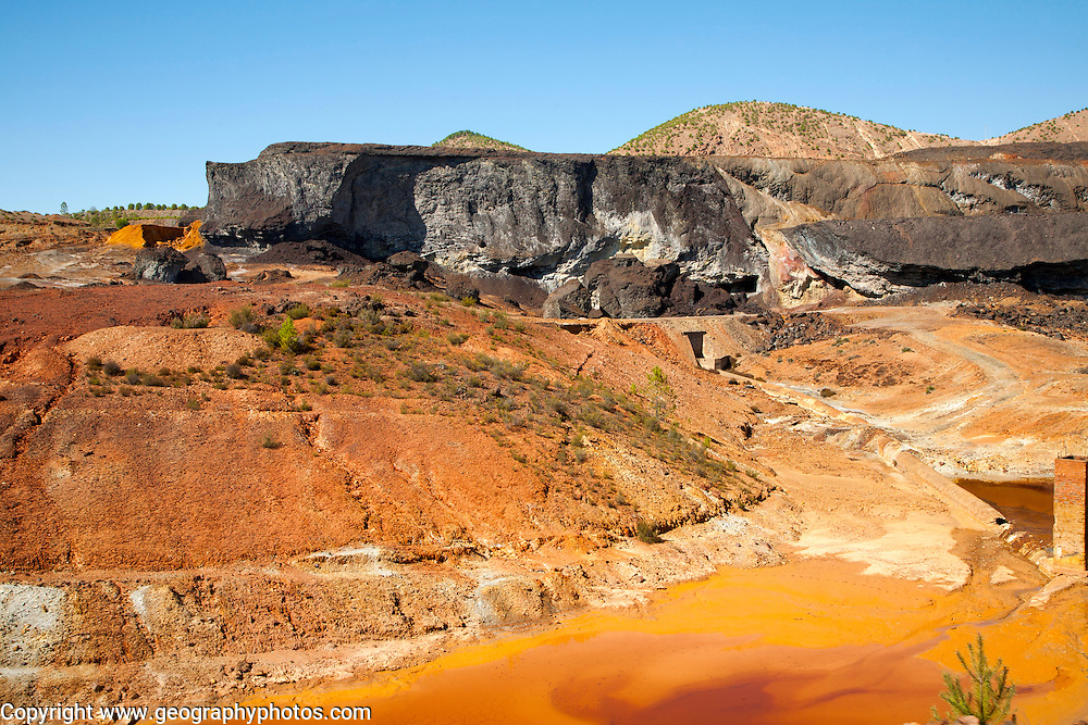 Lunar like despoiled landscape opencast mineral extraction, Minas de Riotinto mining area, Huelva province, Spain