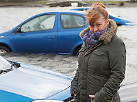 26/01/2016 Aisling Daly whose car was drowned in the flooding in Salthill in storm Jonas hits the West coast. Photo:Andrew Downes, XPOSURE .