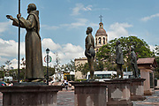 Statues of historical figures on Founders Plaza in the old colonial section of Santiago de Queretaro, Queretaro State, Mexico.
