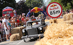 © Licensed to London News Pictures . 14/07/2013 . London, UK . A  black cab-styled competitor in the Red Bull Soapbox Race 2013 at Alexandra Park, London. Photo credit : Isabel Infantes /LNP