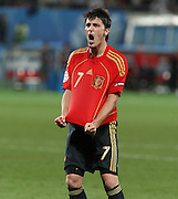 DAVID VILLA CELEBRATES.SPAIN V ITALY.SPAIN V ITALY, EURO 2008.ERNST-HAPPEL STADIUM, VIENNA, AUSTRIA.22 June 2008.DIU80085..  .WARNING! This Photograph May Only Be Used For Newspaper And/Or Magazine Editorial Purposes..May Not Be Used For, Internet/Online Usage Nor For Publications Involving 1 player, 1 Club Or 1 Competition,.Without Written Authorisation From Football DataCo Ltd..For Any Queries, Please Contact Football DataCo Ltd on +44 (0) 207 864 9121