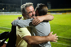Stane Orazem and Luka Elsner, head coach of NK Domzale celebrate after winning during 2nd Leg football match between NK Domzale  and FC Shakhtyor Soligorsk in 2nd Qualifying Round of UEFA Europa league 2016/17 Qualifications, on July 21, 2016 in Domzale, Slovenia. Photo by Vid Ponikvar / Sportida