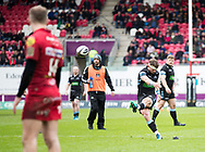 Glasgow Warriors' Peter Horne kicks a penalty<br /> <br /> Photographer Simon King/Replay Images<br /> <br /> Guinness PRO14 Round 19 - Scarlets v Glasgow Warriors - Saturday 7th April 2018 - Parc Y Scarlets - Llanelli<br /> <br /> World Copyright © Replay Images . All rights reserved. info@replayimages.co.uk - http://replayimages.co.uk
