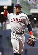 May 8, 2018 - Milwaukee, WI, U.S. - MILWAUKEE, WI - MAY 08: Cleveland Indians Shortstop Francisco Lindor (12) throws the ball to a fan during a MLB game between the Milwaukee Brewers and Cleveland Indians on May 8, 2018 at Miller Park in Milwaukee, WI. The Brewers defeated the Indians 3-2.(Photo by Nick Wosika/Icon Sportswire) (Credit Image: © Nick Wosika/Icon SMI via ZUMA Press)
