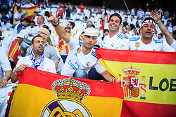 Supporters of Real Madrid prior to the UEFA Champions League final football match between Liverpool and Real Madrid at the Olympic Stadium in Kiev, Ukraine on May 26, 2018.Photo by Sandi Fiser / Sportida